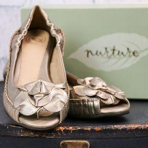 Primrose Nurture (Gold) Leather Wedges/ Flats